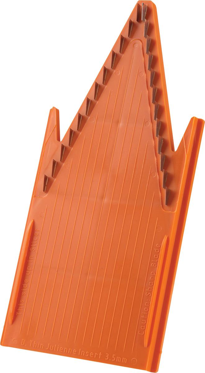 Вставка для терки Borner Classic, цвет: оpанжевый, 3,5 мм115510Входит в базовый комплект овещерезки Классика. Вставка из пластика с металлическими лезвиями, расстояние между которыми составляет 3,5 мм. Вставка с мелкими ножами порежет ваш продукт на соломку размером 3,5 мм. Длинную или короткую. Обратите внимание на то, какой стороной вы располагаете овощи на овощерезке. Вы никогда не дождетесь длинной соломки, если поставили морковку на овощерезку короткой стороной. Чем длиннее морковка - тем длиннее соломка. Исключение составляют капуста и лук, нарезка их с этой вставкой даст вам результат в виде мелких кубиков.