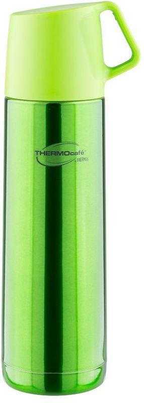 Термос Thermocafe By Thermos, цвет: зеленый, 0,5 л. JF-50271501Термос JF-50 выполнен из нержавеющей стали, представлен в яркой расцветке.В пробке использован новый механизм открытия/закрытия. Имеется очень удобная пластиковая крышка-чашка с ручкой.Объем: 500 мл.