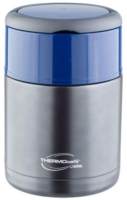 Термос для еды Thermocafe By Thermos, цвет: серый, 0,8 л. TS3506270801Термос для еды Thermocafe By Thermos с широкоим горлом очень удобен в путешествиях.Сверху крышки - две складывающиеся ручки. На пробке предусмотрен клапан-кнопка для спуска воздуха и как следствие, более легкого открытия крышки. Если подпустить воздух под закручивающуюся крышку, то термос легко откроется.Объем: 800 мл.