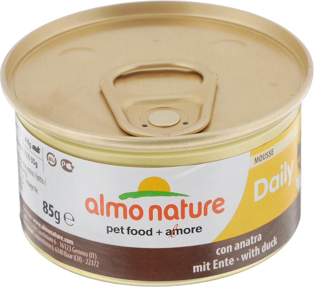 Консервы для кошек Almo Nature, нежный мусс с уткой, 85 г0120710Консервы для кошек Almo Nature сохраняют свежесть каждого кусочка. Корм изготовлен только из свежих высококачественных натуральных ингредиентов, что обеспечивает здоровье вашей кошки. Не содержит ГМО, антибиотиков, химических добавок, консервантов и красителей.Состав: мясо и его производные (утка 4%), минералы, экстракт растительных волокон. Добавки: витамин A 1110 IU/кг, витамин D3 140 IU/кг, витамин E 10 мг/кг, таурин 490 мг/кг, сульфат меди пентагидрат 4,4 мг/кг (Cu 1.1 мг/кг).Технологические добавки: камедь кассии 3000 мг/кг. Пищевая ценность: белки 9,5%, клетчатка 0,4%, масла и жиры 6%, зола 2%, влажность 81%.Калорийность: 881 килокалорий/кг. Товар сертифицирован.