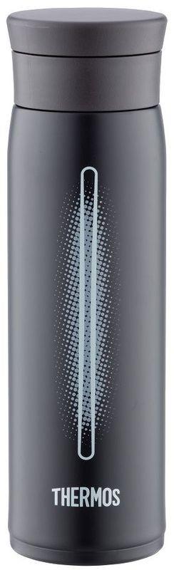 Термос Thermos, цвет: черный, 600 мл. JMZ600115510Thermos это суперлегкий и супертонкий термос, выполненный из стали, он весит всего 190 г, подходит для холодных и горячих напитков.У термоса имеется фиксатор от случайного открытия.Крышка позволяет использовать лед - при наливании специальное сито не дает кубикам выпасть в чашку.Термос также подходит для автомобильных держателей.Объем: 600 мл.