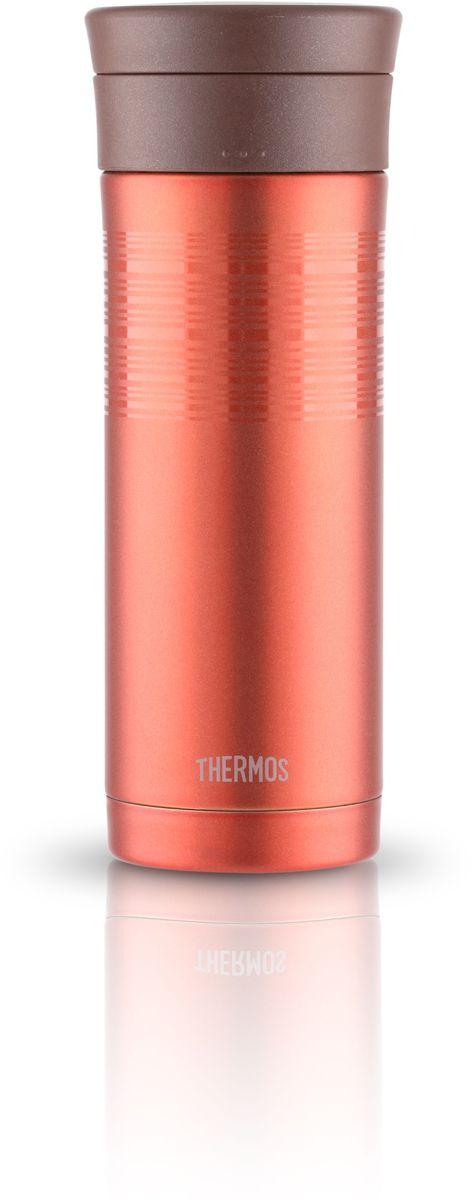 Термос Thermos, цвет: светло-коричневый, 0,48 л. JMK-501VT-1520(SR)Термос JMK 501 привлекает тонким изящным стилем. выполнен из нержавеющей стали. Покрытие, созданное на основе самых современных технологий, прекрасно передает глубину и палитру цвета. Он предназначен для использования в движении. Можно пить прямо из термоса. Широкое горло предусмотрено для загрузки кубиков льда. Конструкция крышки не позволяет льду выпадать при питье. Термос удобно лежит в руке. Модель легко моется, его можно мыть в посудомоечной машине. Может использоваться в стандартном подстаканнике автомобиля.Объем: 480 мл.
