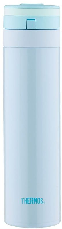 Термос Thermos, цвет: голубой, 450 мл. JNS-450WS 7064Термос JNS-450 это суперлегкий и супертонкий термос, выполненный из стали, он весит всего 190 г.У термоса имеется фиксатор от случайного открытия, крышка откидывается полностью и фиксируется. Он также подходит для автомобильных держателей.Объем: 450 мл.