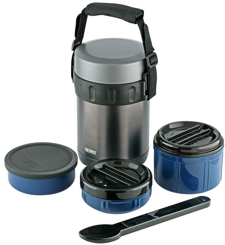Термос для еды Thermos, цвет: темной-серый, 2 л. JBG-2000150516Термос для еды Thermos очень удобен в путешествиях.В набор входят термос из нержавеющей стали и высококачественные пластиковые контейнеры для трех блюд (0,4 мл, 0,8 мл и 0,4 мл).Контейнер для жидкого (первого) блюда герметичен.Набор также укомплектован ложкой из нержавеющей стали в пластиковом чехле. Объем: 2 л.