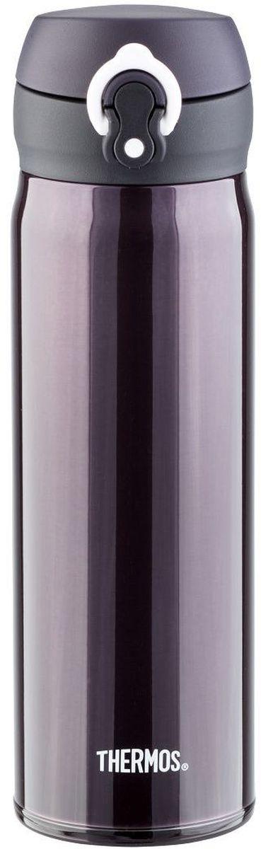 Термос Thermos, цвет: черный матовый, 500 мл. JNL-502935120Термос JNL-502 это суперлегкий и супертонкий термос, выполненный из стали, он весит всего 210 г.У термоса имеется фиксатор от случайного открытия, крышка откидывается полностью и фиксируется. Он также подходит для автомобильных держателей.Объем: 500 мл.