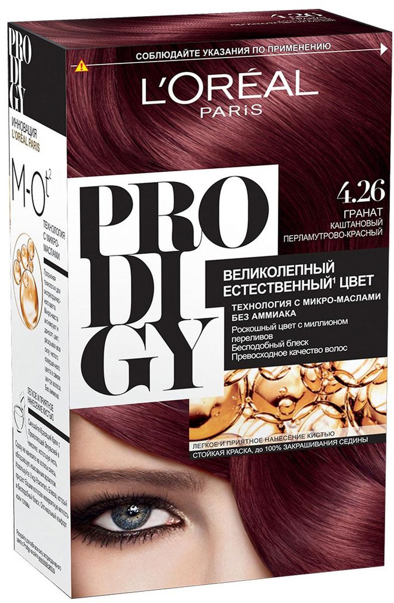LOreal Paris Краска для волос Prodigy без аммиака, оттенок 4.26, ГранатA8881301Краска для волос серии «Prodigy» совершила революционный прорыв в окрашивании волос. Новейшая технология состоит в использовании особых микромасел, которые, проникая в самый центр волоса, наполняют его насыщенным, совершенным свой чистотой цветом. Объемный цвет, полный переливов разнообразных оттенков достигается идеальной гармонией красящих пигментов. Кроме создания поразительного цвета микромасла также разглаживают поверхность волос, придавая тем самым ослепительный блеск. Равномерное окрашивание волос по всей длине, эффективное закрашивание седины и сохранение здоровой структуры волос — вот результат действия краски «Prodigy» без аммиака.В состав упаковки входит: красящий крем (60 г); проявляющая эмульсия (60 г); уход-усилитель блеска (60 мл);пара перчаток; инструкция по применению.1. Доносит цветовые пигменты в самый центр волоса 2. Кремовая текстура без запаха аммиака 2. Стойкая краска без аммиака 3. До 100% закрашивания седины