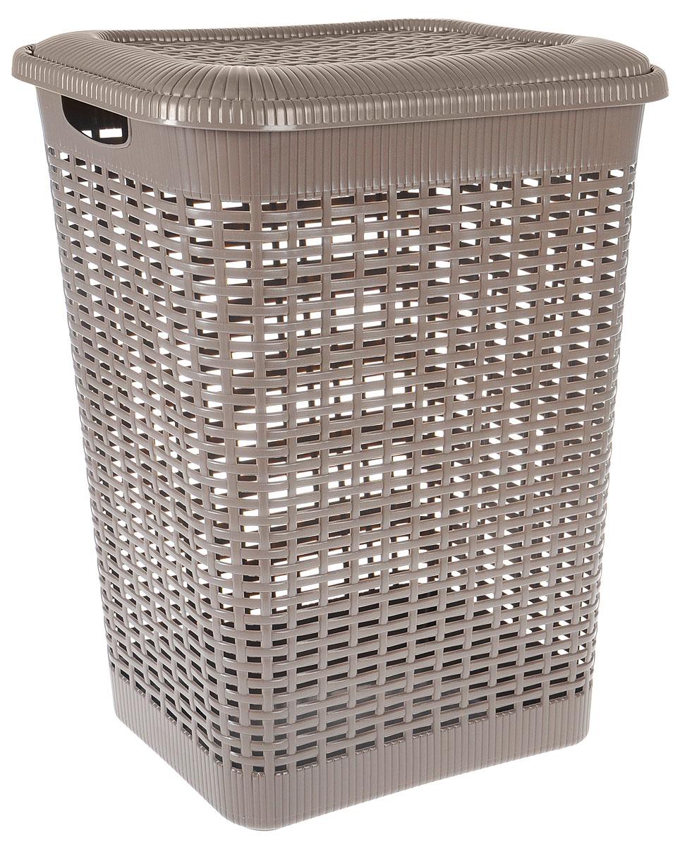 Корзина для белья Econova, цвет: тауп, 50 л25051 7_желтыйКорзина для белья Econova изготовлена из пластика с эффектом плетения. Оснащена двумя ручками для удобной переноски и откидной крышкой. Корзина легкая и надежная, с вентиляционными отверстиями в стенках. Пластиковые корзины - идеальный вариант для влажного помещения, они не подвержены воздействию плесени, деформации, коррозии. Прекрасно подходят для хранения тонких, дорогих вещей, так как не оставляют зацепок и зазубринок, которые могут безнадежно испортить вещь.