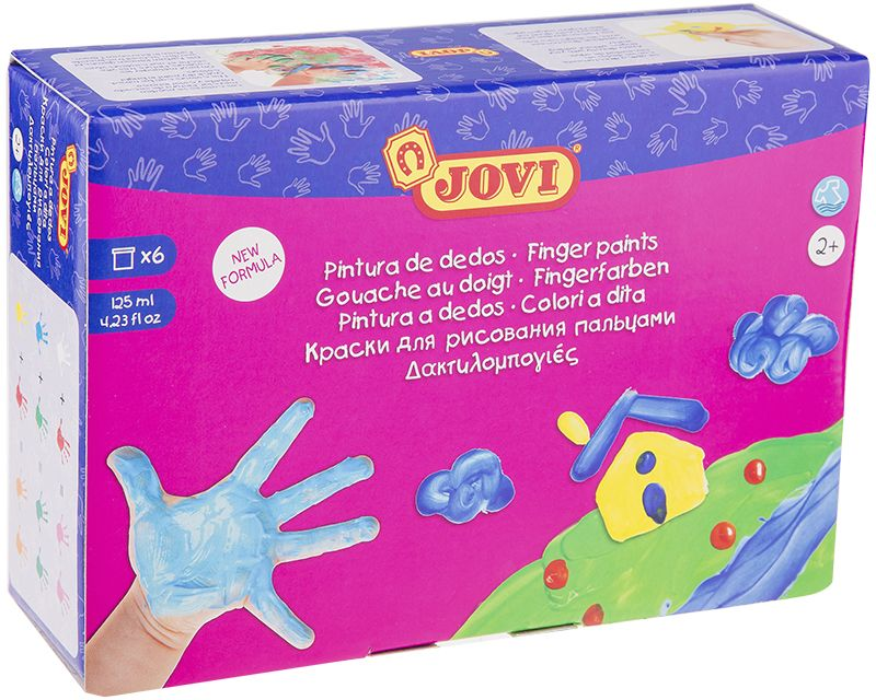 Jovi Краски пальчиковые 6 цветов 750 гFS-36054Набор пальчиковых красок с баночками увеличенного объема по 125 мл. Первые краски малыша. Сертифицированы от 2-х лет. Пальчиковые краски очень густой желеобразной консистенции. Не вытекают из баночки, позволяют набирать небольшое количество краски и экономично ее использовать. Не требуется разводить водой. Большие баночки с широким горлом, удобно рисовать руками или с помощью специальных губок и валиков Jovi. Пальчиковые краски Jovi развивают цветовосприятие, воображение, фантазию, интеллект и творческие задатки ребенка. Также развивают мелкую моторику, которая в свою очередь помогает развитию речи и памяти малыша. Рисование пальчиковыми красками положительно сказывается на нервной системе ребенка, он легче учится правильно сидеть и ходить, освобождается от негативных эмоций. Даже если малыш сразу не начинает рисовать, а только исследует краску, ее желеобразную консистенцию, окунает в нее пальчики, стучит по поверхности, смотрит как она колышется, все это является этапами развития вашего ребенка и познания им окружающего мира. После этого первоначального этапа ознакомления можно приступать к процессу рисования, ставить точечки на бумаге, проводить линии, делать отпечатки ладошек, из которых в дальнейшем можно сделать множество забавных фигурок, немного дорисовав их. Краски гипоаллергенны, не содержат глютен.Состав на водной основе, содержит безопасные красители.