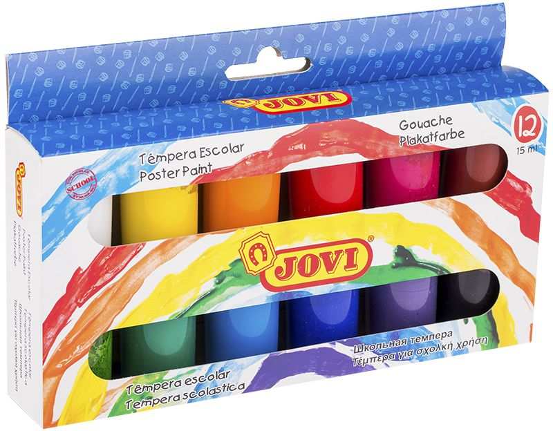 Jovi Гуашь 12 цветов 15 мл521Школьная гуашь Jovi с высокой покрывающей способностью, образует матовый, плотный, непрозрачный слой краски. Идеальна для работы по любой пористой поверхности, такой как плотная (не глянцевая) бумага, ватман, картон, дерево, для раскрашивания просохших фигурок из пасты для лепки, застывающей на воздухе, или из папье-маше. Гуашь - это практически универсальные краски, которые позволяют рисовать в различных техниках. Если сильно развести её водой, то получится почти акварельный рисунок. Если использовать сухую жесткую кисть, то будет эффект фактически масляной живописи. Гуашь имеет густую текстуру и экономичный расход.