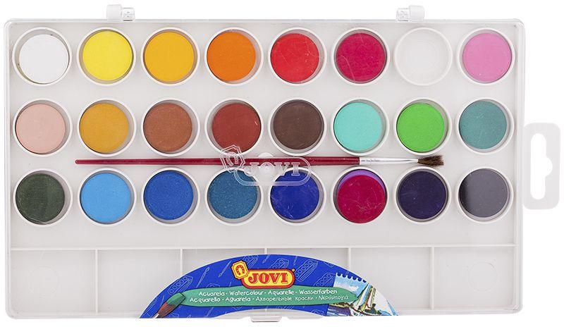 Jovi Акварель 24 цветаFS-00103Высококачественная акварель Jovi предназначена для рисования дома, в школе, в художественных студиях, подходит для разных техник рисования. Краски в коробке с кюветами для воды и кистью. Спрессованные таблетки диаметром 22 мм (вес 2,9 г) с высоким содержанием пигмента. Гораздо более экономичные, чем полусухая акварель в кюветах. Легко разводятся: при добавлении небольшого количества воды цвета получаются очень насыщенными и яркими, а увеличение количества воды приводит к эффектам, типичным для техники акварели. Хорошо ложатся на поверхность. Могут использоваться для рисования на различных поверхностях: бумаге различной плотности, картоне, для раскрашивания просохших фигурок из пасты для лепки, застывающей на воздухе, или из папье-маше. Краски отстирываются с большинства видов тканей.