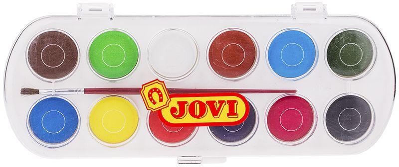 Jovi Акварель 12 цветов 830/12FS-00103Высококачественная акварель Jovi предназначена для рисования дома, в школе, в художественных студиях, подходит для разных техник рисования. Представлены 12 базовых цветов. Крышка одновременно может использоваться как палитра для смешивания красок, кисть в комплекте. Спрессованные таблетки диаметром 30 мм (вес 4,8 г) с высоким содержанием пигмента. Гораздо более экономичные, чем полусухая акварель в кюветах. Легко разводятся: при добавлении небольшого количества воды цвета получаются очень насыщенными и яркими, а увеличение количества воды приводит к эффектам, типичным для техники акварели. Хорошо ложатся на поверхность. Могут использоваться для рисования на различных поверхностях: бумаге различной плотности, картоне, для раскрашивания просохших фигурок из пасты для лепки, застывающей на воздухе, или из папье-маше. Краски отстирываются с большинства видов тканей.