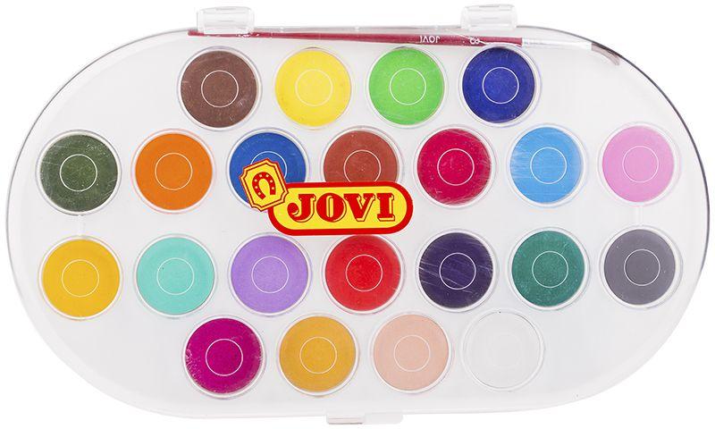 Jovi Акварель 22 цветаPP-219Высококачественная акварель Jovi предназначена для рисования дома, в школе, в художественных студиях, подходит для разных техник рисования. Крышка одновременно может использоваться как палитра для смешивания красок, кисть в комплекте. Спрессованные таблетки диаметром 30 мм (вес 4,8 г) с высоким содержанием пигмента. Гораздо более экономичные, чем полусухая акварель в кюветах. Легко разводятся: при добавлении небольшого количества воды цвета получаются очень насыщенными и яркими, а увеличение количества воды приводит к эффектам, типичным для техники акварели. Хорошо ложатся на поверхность. Могут использоваться для рисования на различных поверхностях: бумаге различной плотности, картоне, для раскрашивания просохших фигурок из пасты для лепки, застывающей на воздухе, или из папье-маше. Краски отстирываются с большинства видов тканей.