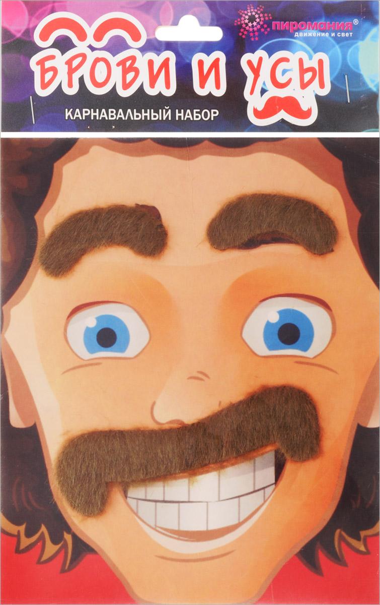 Partymania Карнавальный набор Брови и усы цвет седой