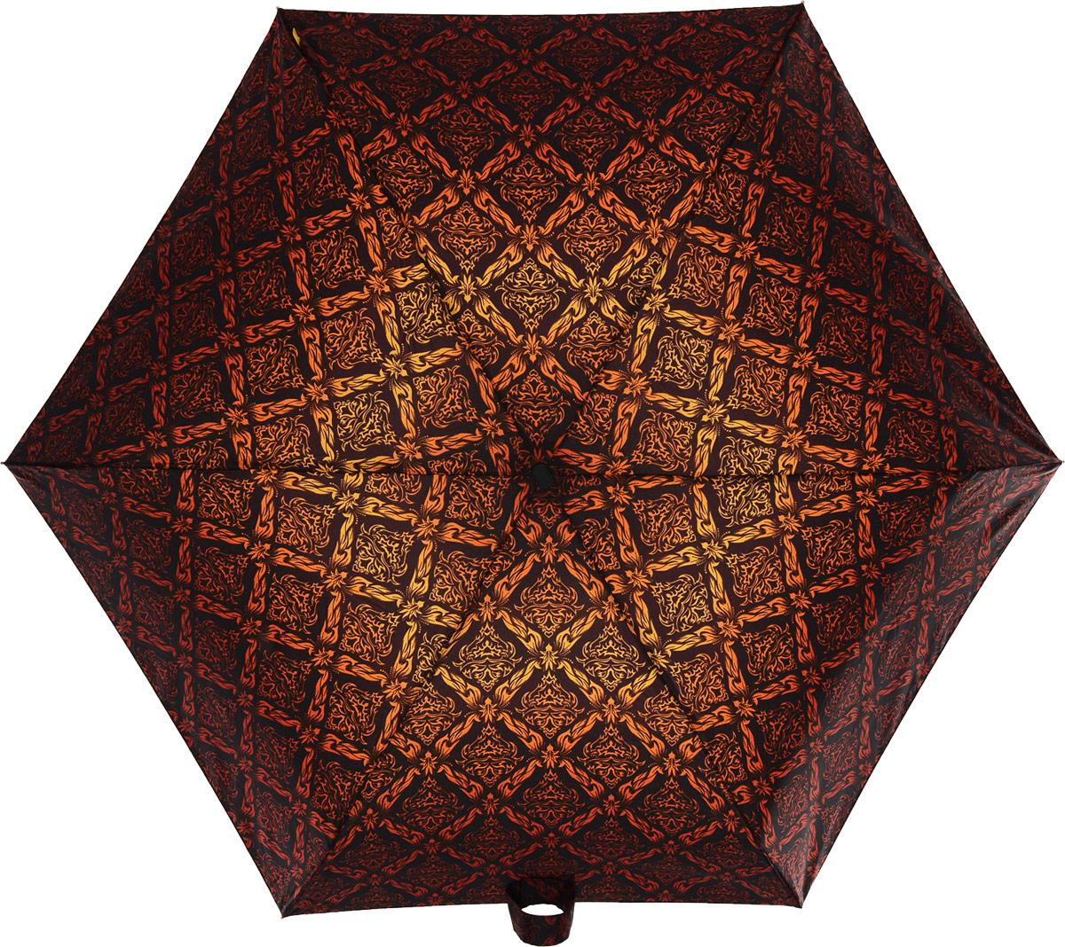 Зонт женский Zest, механический, 5 сложений, цвет: черный, коричневый, красный, оранжевый. 25518-273CX1516-50-10Невероятно компактный и легкий зонт Zest имеет 5 сложений. Модель зонта складывается и раскладывается механически. Удобная ручка выполнена из пластика с прорезиненным нанесением, приятна на ощупь. В сложенном состоянии зонт занимает очень мало места, и его удобно будет носить с собой даже в маленькой сумочке. К зонту прилагается чехол.