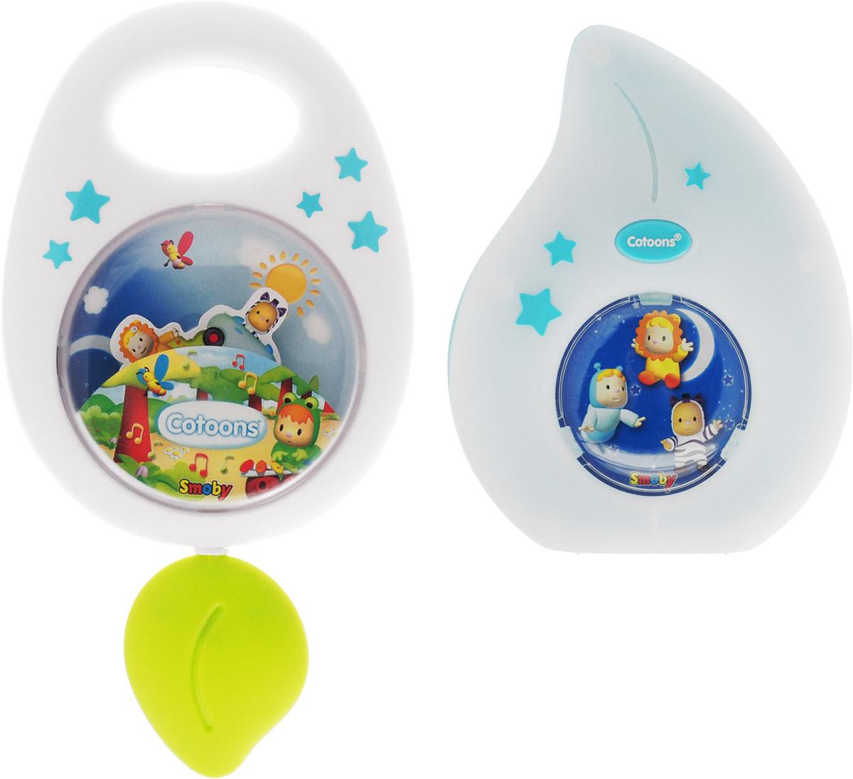 Smoby Музыкальная игрушка-подвеска Cotoons с ночником цвет белый голубой smoby ночник кукла свет звук smoby