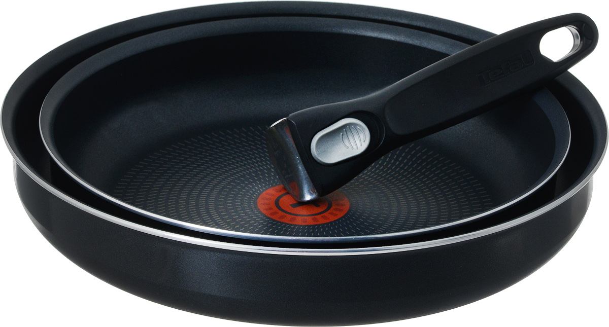 Набор сковородок Tefal Ingenio, с антипригарным покрытием, 3 предмета. 413182068/5/4Набор Tefal Ingenio состоит из двух сковородок и съемной ручки. Посуда изготовлена из алюминия с антипригарным покрытием Powerglide, которое благодаря усовершенствованному верхнему слою обеспечивает отличные антипригарные свойства и износостойкость даже при длительном использовании. Элегантную и практичную ручку Ingenio, выполненную из бакелита, вы сможете отсоединить одним движением. Благодаря съемной ручке посуда легко и просто вкладывается друг в друга по принципу матрешки и хранится, занимая минимум места. Готовое блюдо можно не перекладывать в другую посуду, поскольку данный набор подходит и для сервировки стола. Благодаря специальной технологии Durabase устойчивое к деформации многослойное дно Diffusal обеспечивает оптимальное распределение тепла и равномерное приготовление пищи. Вся посуда Tefal имеет уникальный индикатор нагрева Thermo-Spot. Если индикатор стал равномерно красным, то дно достигло оптимальной для приготовления температуры. Можно использовать на электрических, газовых и стеклокерамических плитах. Можно мыть в посудомоечной машине. Диаметр сковороды: 24 см; 28 см.Диаметр основания сковороды: 19 см; 23 см.Высота сковороды: 5 см.Длина съемной ручки: 18 см.