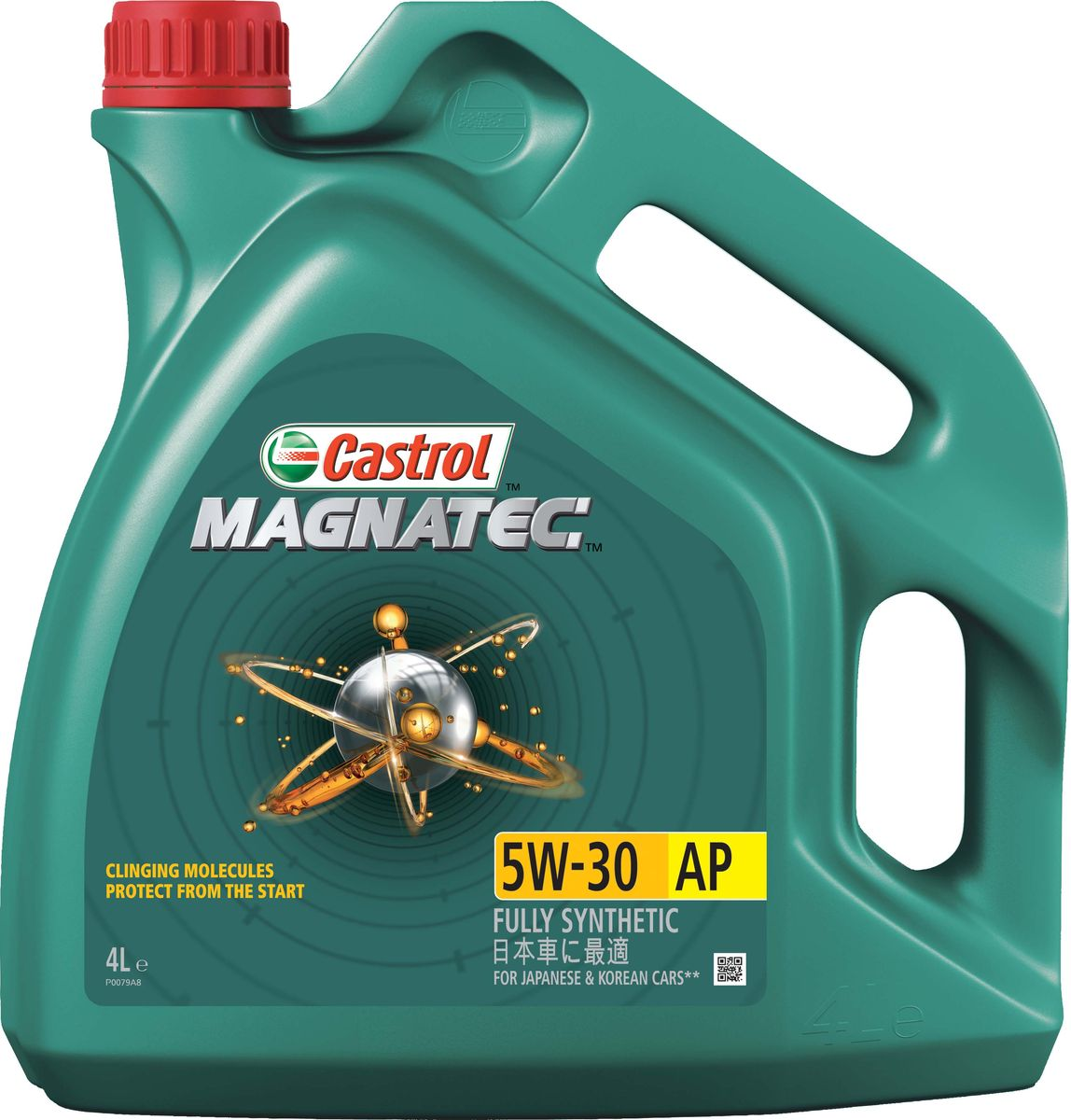 Масло моторное Castrol Magnatec, синтетическое, класс вязкости 5W-30, AP, 4 л790009До 75% износа двигателя происходит во время его пуска и прогрева. Когда двигатель выключен, обычное масло стекает в поддон картера, оставляя важнейшие детали двигателя незащищенными. Молекулы Castrol Magnatec подобно магниту притягиваются к деталям двигателя и образуют сверхпрочную масляную пленку, обеспечивающую дополнительную защиту двигателя в период пуска, когда риск возникновения износа существенно возрастает. Всесезонное полностью синтетическое моторное масло Castrol Magnatec разработано специально для двигателей японских и корейских автопроизводителей.Моторное масло Castrol Magnatec подходит для применения в бензиновых двигателях, в которых производитель рекомендует использовать смазочные материалы соответствующие классу вязкости SAE 5W-30 и спецификациям API SN, ILSAC GF-5 или более ранним.Молекулы Castrol Magnatec Intelligent Molecules: - удерживаются на важнейших деталях двигателя, когда обычное масло стекает в поддон картера;- притягиваются к деталям двигателя, образуя устойчивый защитный слой, сохраняющийся с первой секунды работы двигателя вплоть до следующего пуска;- сцепляются с металлическими поверхностями деталей двигателя, делая их более устойчивыми к изнашиванию;- в сочетании с синтетической технологией обеспечивают повышенную защиту при высоко- и низкотемпературных режимах работы двигателя;- обеспечивают постоянную защиту в любых условиях эксплуатации, при различных стилях вождения и в широком диапазоне температур.Castrol Magnatec проявляет отличные эксплуатационные характеристики в экстремальных условиях холодного пуска.Спецификации.API SN,ILSAC GF-5.Товар сертифицирован.