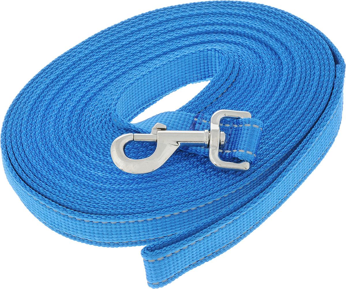 Поводок капроновый для собак Аркон, цвет: темно-голубой, ширина 2,5 см, длина 10 м0120710Поводок для собак Аркон изготовлен из высококачественного цветного капрона и снабжен металлическим карабином. Изделие отличается не только исключительной надежностью и удобством, но и привлекательным современным дизайном.Поводок - необходимый аксессуар для собаки. Ведь в опасных ситуациях именно он способен спасти жизнь вашему любимому питомцу. Иногда нужно ограничивать свободу своего четвероногого друга, чтобы защитить его или себя от неприятностей на прогулке. Длина поводка: 10 м.Ширина поводка: 2,5 см.