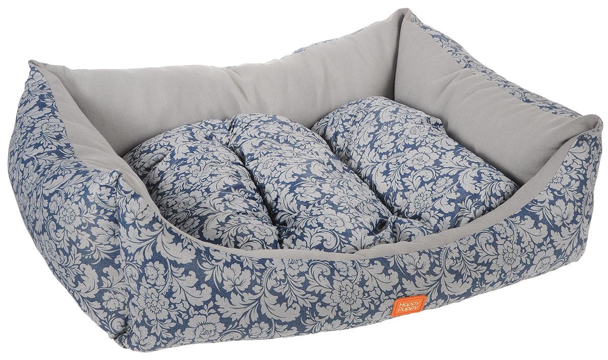 Лежак для собак Happy Puppy Ампир-3, цвет: серый, синий, 57 x 44 x 15 см609Мягкий лежак Happy Puppy Ампир-3, изготовлен в цветочном дизайне. Лежак выполнен из полиэстера и хлопка, а наполнитель - из мягкого холлофайбера. Такой материал не теряет своей формы долгое время.Лежак оснащен мягкой съемной подстилкой. Высокие бортики обеспечат вашему любимцу уют. За изделием легко ухаживать, его можно стирать вручную. Мягкий лежак станет излюбленным местом вашего питомца, подарит ему спокойный икомфортный сон, а также убережет вашу мебель от шерсти. Размер: 57 x 44 x 15 см.