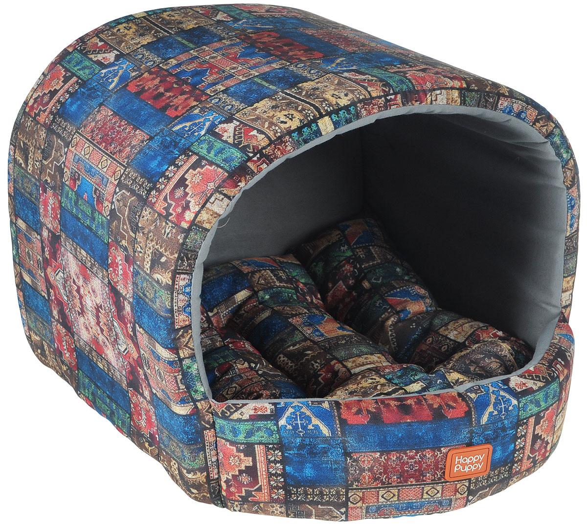 Домик для собак Happy Puppy Восточные сказки, 37 x 37 x 40 см0120710Домик для собак Happy Puppy Восточные сказки обязательно понравится вашему питомцу. Он предназначен для собак мелких пород и изготовлен из полиэстера и хлопка, внутри -мягкий наполнитель из мебельного поролона.Стежка надежно удерживает наполнитель внутри и не позволяет ему скатываться. Домик очень удобный и уютный, он оснащен мягкой съемной подстилкой с наполнителем из холлофайбера. Ваш любимец сразу же захочет забраться внутрь, там он сможет отдохнуть и спрятаться. Компактные размеры позволят поместить домик, где угодно, а приятная цветовая гамма сделает егооригинальным дополнением к любому интерьеру. Размер подстилки: 37 х 37 х 40 см.Внутренняя высота домика (с учетом подстилки):27 см. Толщина стенки: 3 см.
