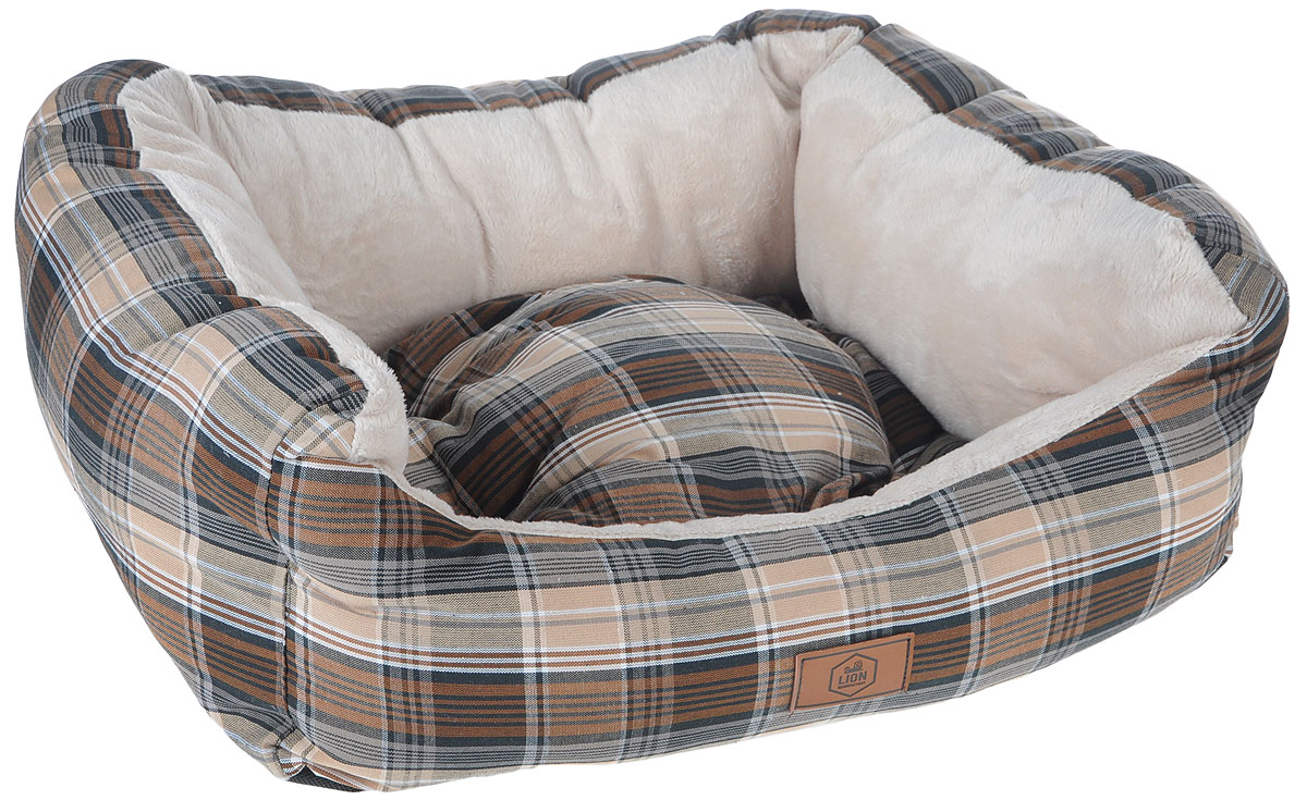 Лежанка для собак Lion Manufactory Модерн, с подушкой, цвет: коричневый, бежевый, черный, 55 х 50 х 12 смЛ-13/4_бежевый, белыйЛежанка Lion Manufactory Модерн, выполненная из хлопка с наполнителем из синтепона, предназначена для собак. Лежанка дополнена подушкой. Легко складывается для хранения и перевозки. К изделию не прилипает шерсть животного.