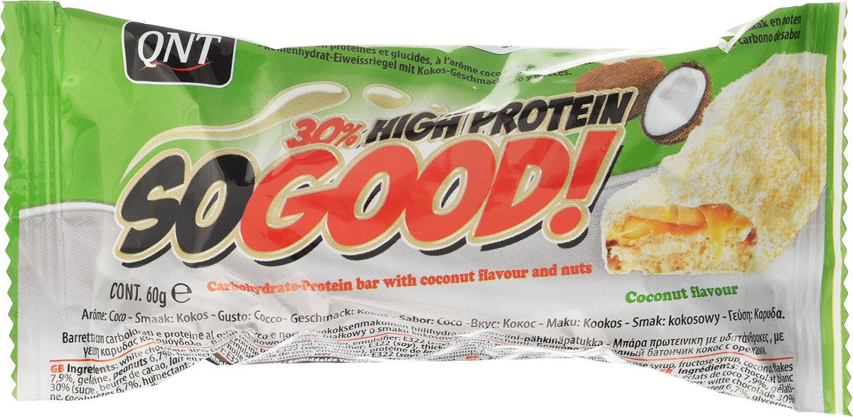 QNT Шоколадный батончик Кью Эн Ти СоГуд, Кокос, 60 гХот ШейперсSO GOOD BAR - это великолепный протеиновый батончик на молоке, который позволит Вам насладиться прекрасным сочетанием карамели и арахиса. Батончик очень сочный и содержит 30% сывороточного белка наряду со сбалансированной питательной ценностью.