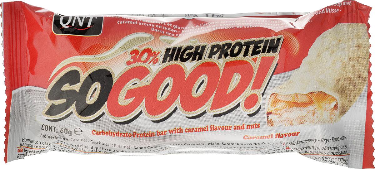 QNT Шоколадный батончик Кью Эн Ти СоГуд, Шоколад карамель, 60 гSF 0085SO GOOD BAR - это великолепный протеиновый батончик на молоке, который позволит Вам насладиться прекрасным сочетанием карамели и арахиса. Батончик очень сочный и содержит 30% сывороточного белка наряду со сбалансированной питательной ценностью.