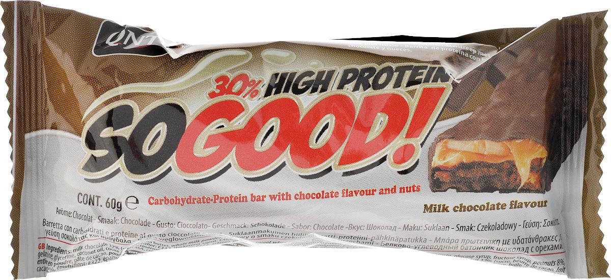 QNT Шоколадный батончик Кью Эн Ти СоГуд, Молочный шоколад, 60 гУТ000001705SO GOOD BAR - это великолепный протеиновый батончик на молоке, который позволит Вам насладиться прекрасным сочетанием карамели и арахиса. Батончик очень сочный и содержит 30% сывороточного белка наряду со сбалансированной питательной ценностью.