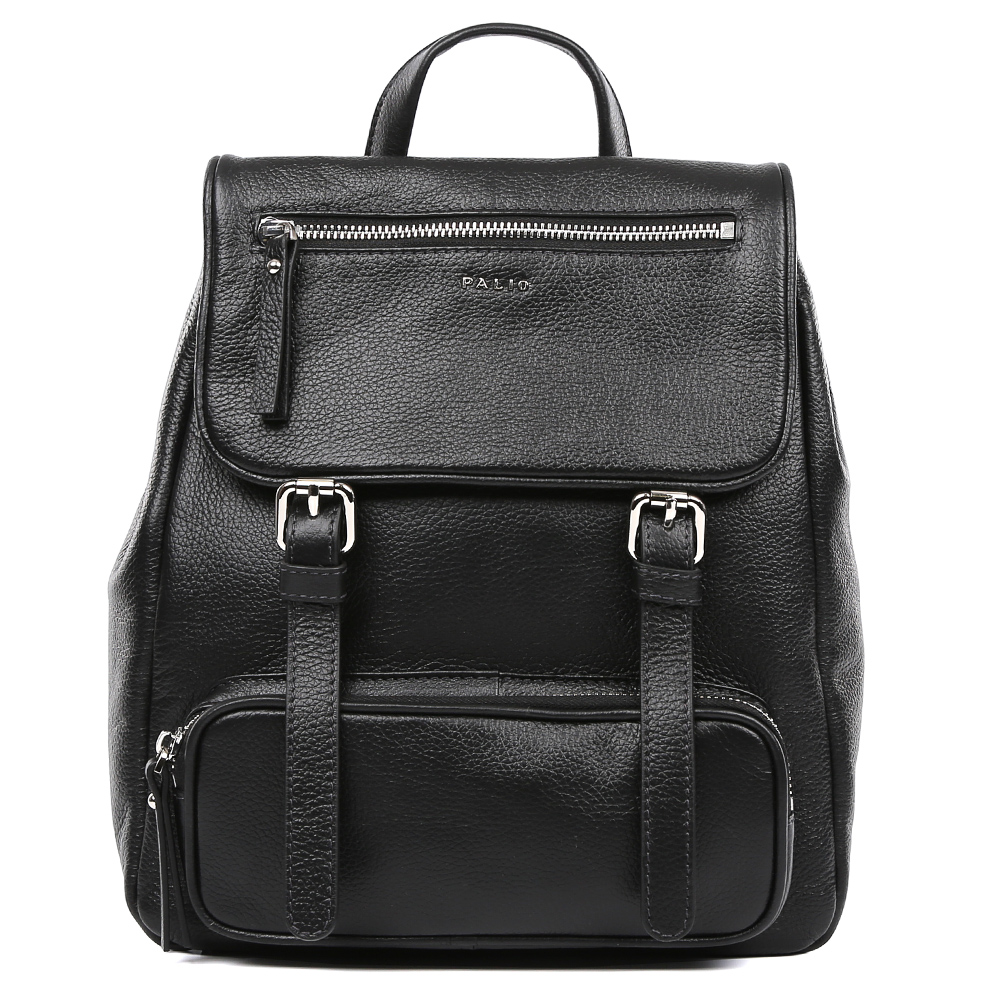 Сумка женская Palio, цвет: черный. 15098A1-W3-018/018L39845800Молодежный женский рюкзак Palio выполнен из натуральной пористой кожи, которая имеет мягкую и приятную на ощупь фактуру. Классический черный цвет дополнит любую цветовую гамму, поэтому модель станет универсальным аксессуаром, подходящим под различные современные образы. Дизайнерские карманы, удобные ручки, длинные кожаные поводки и фурнитура в серебряном цвете, - все это превращает изделие в ультрамодный рюкзак, который подчеркнет ваш уникальный стиль. Внутри вы сможете разместить документы и папки формата А4, а также мелкие вещи с помощью кармана, который закрывается на молнию. На тыльной части рюкзака дизайнеры разместили удобное внутреннее отделение с кожаным поводком. Прочные и тонкие ручки регулируются.