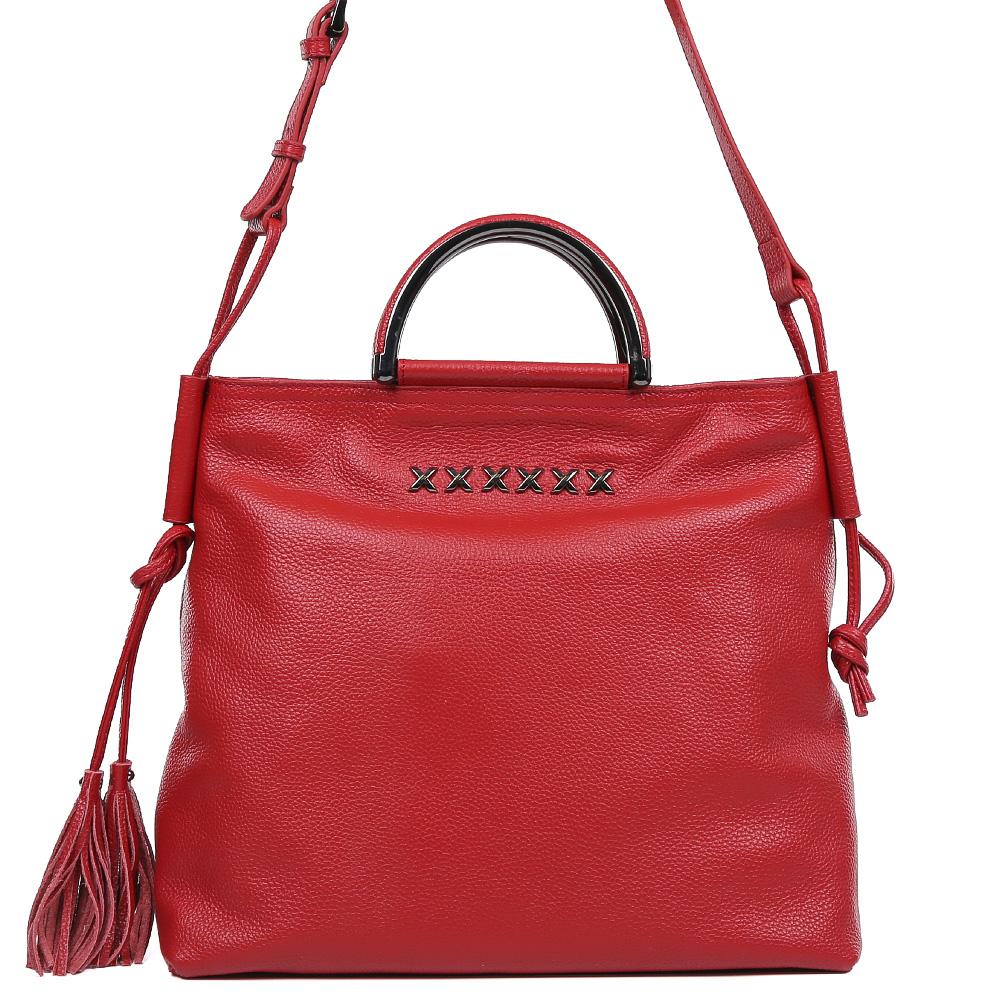 Сумка женская Galaday, цвет: красный. GD7088Q579995-400Элегантная женская сумка Galaday изготовлена из качественной натуральной кожи. Модель с одним отделением закрывается на застежку-молнию. Внутри имеются дополнительные карманы и карман-средник на молнии. Сумка оснащена удобными ручками и плечевым ремнем, который можно регулировать по длине.