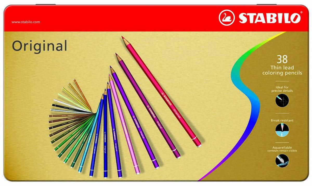 STABILO Набор цветных карандашей с тонким грифелем Original 38 цветов82099Все творческие натуры хотят иметь в своем распоряжении только лучшее. Представленный STABILO ассортимент и очень широкая палитра цветов способны удовлетворить самые разные потребности сторонников всевозможных техник рисования. Высококачественные, насыщенные красители гарантируют тонкую проработку цвета. все карандаши обеспечивают легкую смешиваемость красок, мягкие, однородные по цвету линии. Высокая степень пигментации гарантирует особую яркость цвета и исключительную покрывающую способность даже на темном фоне, а также высокую устойчивость к свету. Краски STABILO не блекнут со временем. Светоустойчивость карандашей обозначается различным количеством звездочек на корпусе: от 5 звездочек - высокая степень светоустойчивости до 1 звездочки - достаточная светоустойчивость.