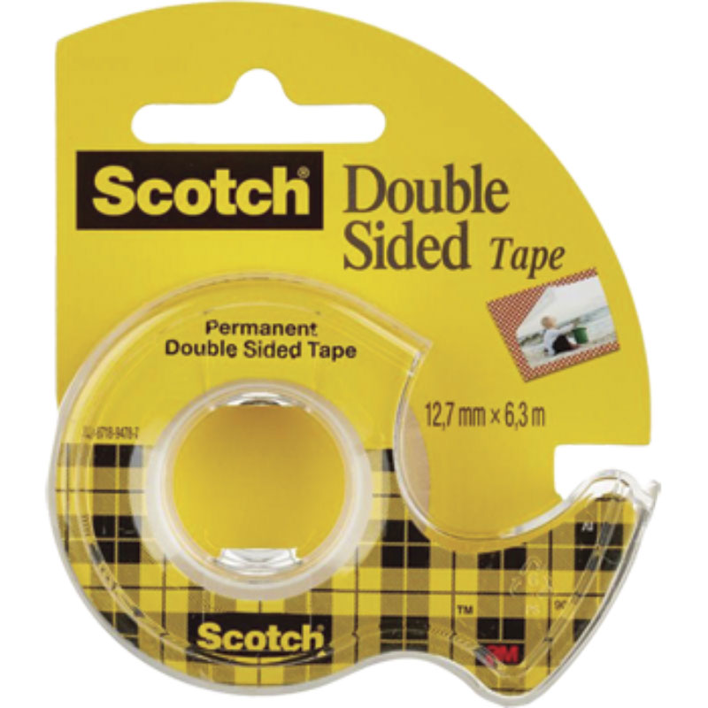 Scotch Двусторонняя клейкая лента на диспенсере 12,7 х 6300 ммFS-00102Двусторонняя клейкая лента Scotch на диспенсере идеально подходит для крепления легких объектов, приклеивания фотографий, плакатов, упаковки подарков.Для компактной клейкой ленты на маленьком диспенсере с пластиковым ножом, легко найдется место на рабочем столе в офисе и дома.