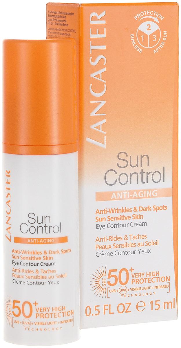 Lancaster Sun Control Солцезаитный крем для контура глаз против морщин и пигменьных пятен для чувствительной к солнечному воздействию кожи , фактор защиты-50+ 15 мл40377643100Нежный шелковистый крем для чувствительных зон, таких как глаза и губы. Обеспечивает защиту от преждевременного старения и предотвращает появление морщин, вызванных солнцем. Без отдушек.Full Light Technology – полная защита от всех видов лучей УФИ. Поглащение Фотостабильные высокоэффективные фильтры, Tinosorb М. Отражение: Пудра рубина, слюда, Диоксид титана + Bio Glass M Нейтрализация: Антиоксидантный комплекс+ витамин С+Е+ масло облепихи.Lancaster Sun Control Anti-Wrinkles & Dark Spots Sun Sensitive Skin Eye Contour Cream SPF50+. Наносите средство щедрым слоем как минимум за 30 минут до выхода на солнце. Защищайте глаза.