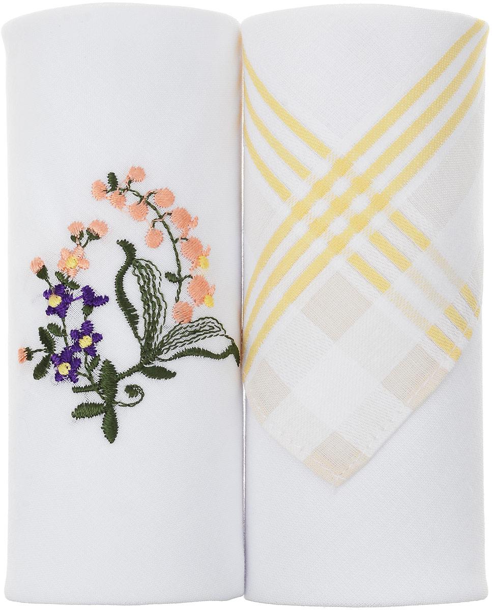 Платок носовой женский Zlata Korunka, 2 шт. 67004_желтая полоса, ландыши. Размер 28 х 27 смСерьги с подвескамиПодарочная коробка с двумя красиво оформленными платками Zlata Korunka, задает нежное позитивное настроение. На одном из платков принт, на другом вышивка, оба платка имеют стандартную для своих функций площадь. Практичный и красивый подарок для самого себя или близких.