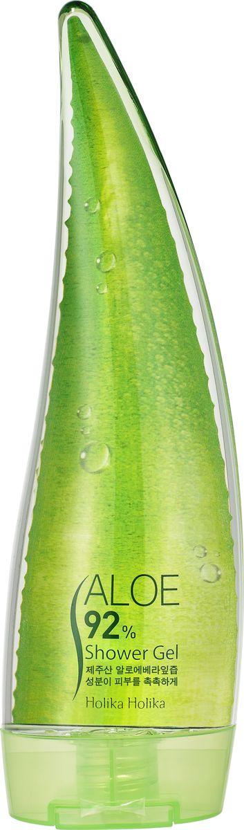 Holika Holika Гель для душа с алоэ вера 92%, 250 млAC-2233_серыйHolika Holika Aloe 92% Shower Gel – это гель для душа «Алоэ» с 92% содержанием экстракта сока алоэ вера. Он очищает кожу от ежедневных загрязнений, интенсивно увлажняет, помогает сохранить влагу, убирает шелушения. Применение: Вспеньте гель при помощи мочалки, помассируйте кожу тела и смойте теплой водой. Предостережения: не используйте на области вокруг глаз, избегайте попадания средства в глаза, только для наружного применения. Состав: сок листьев алоэ, аммония лаурет сульфат, аммония лаурил сульфат, кокамидопропилбетаин, поверхностно-активное вещество - очищающий компонент, феноксиэтанол, ароматизатор, натрия хлорид, экстракт лотоса орехоносного, эмульгатор, экстракт центеллы азиатской, экстракт бамбука дикого, экстракт плодов огурца, экстракт листьев кукурузы, экстракт листьев капусты огородной, экстракт плодов арбуза.Объём: 250 мл.
