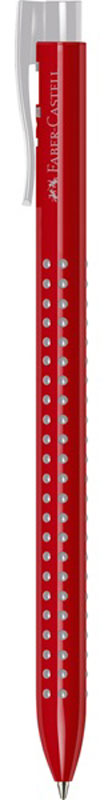 Faber-Castell Ручка шариковая Grip 2022 цвет корпуса красный серыйPP-304Шариковая ручка Faber-Castell Grip 2022 имеет запатентованную антискользящую зону захвата с малыми массажными шашечками. Эргономичная трехгранная форма, качественный нажимной механизм и упругий клип обеспечат комфорт при использовании ручки. Пригодна для письма на документах.Цвет чернил: красный.