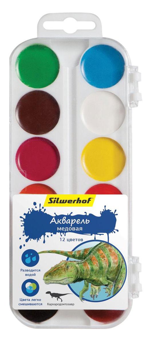 Silwerhof Акварель медовая Динозавры 12 цветовFS-00103Медовая акварель Silwerhof позволит вашему малышу проявить весь свой творческий потенциал.В наборе - двенадцать разноцветных красок. Они прекрасно подходят для детского творчества и декоративных работ по холсту, бумаге и картону. Краски мягко ложатся на бумагу, оставляя яркий и четкий цвет. Они непременно порадуют юного художника своим качеством и насыщенностью цвета, а красочная коробочка поднимет ребенку настроение!Состав: декстрин, глицерин дистиллированный, сахар, мел, пигменты, консервант, вода питьевая.
