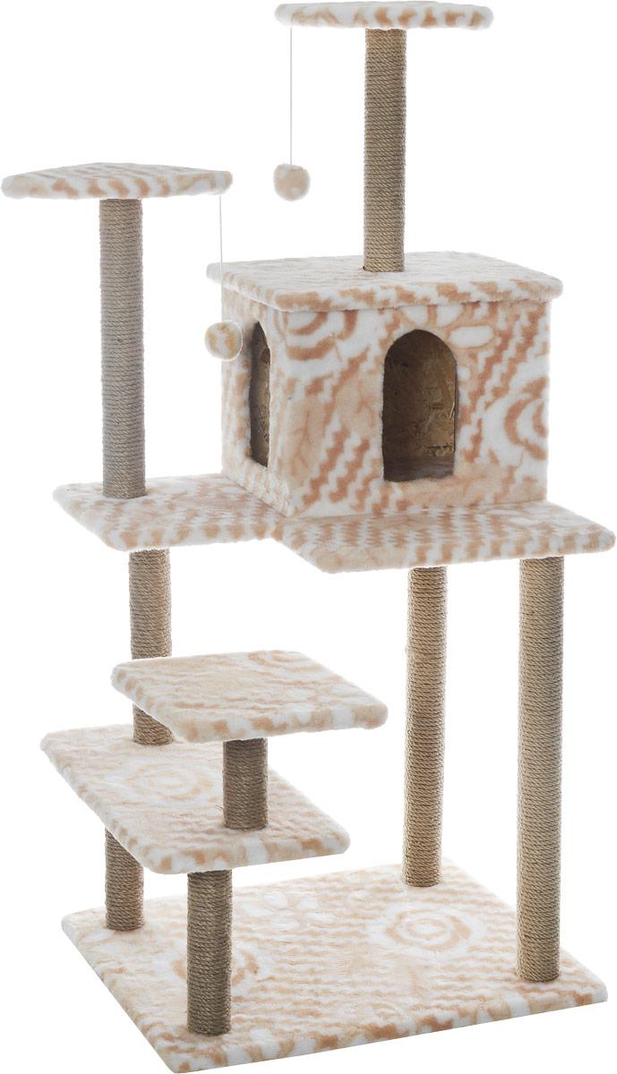 Игровой комплекс для кошек Меридиан Семейный, цвет: белый, бежевый, 70 х 65 х 150 см0120710Игровой комплекс для кошек Меридиан Семейный выполнен из высококачественного ДВП и ДСП и обтянут искусственным мехом. Изделие предназначено для кошек. Ваш домашний питомец будет с удовольствием точить когти о специальные столбики, изготовленные из джута. А отдохнуть он сможет либо на полках, либо в домике. Сверху имеются 2 подвесные игрушки, которые привлекут внимание кошки к когтеточке.Общий размер: 70 х 65 х 150 см.Размер полок: 31 х 31 см, 26 х 26 см (2 полки), 59 х 24 см.Размер домика: 41 х 33 х 35 см.