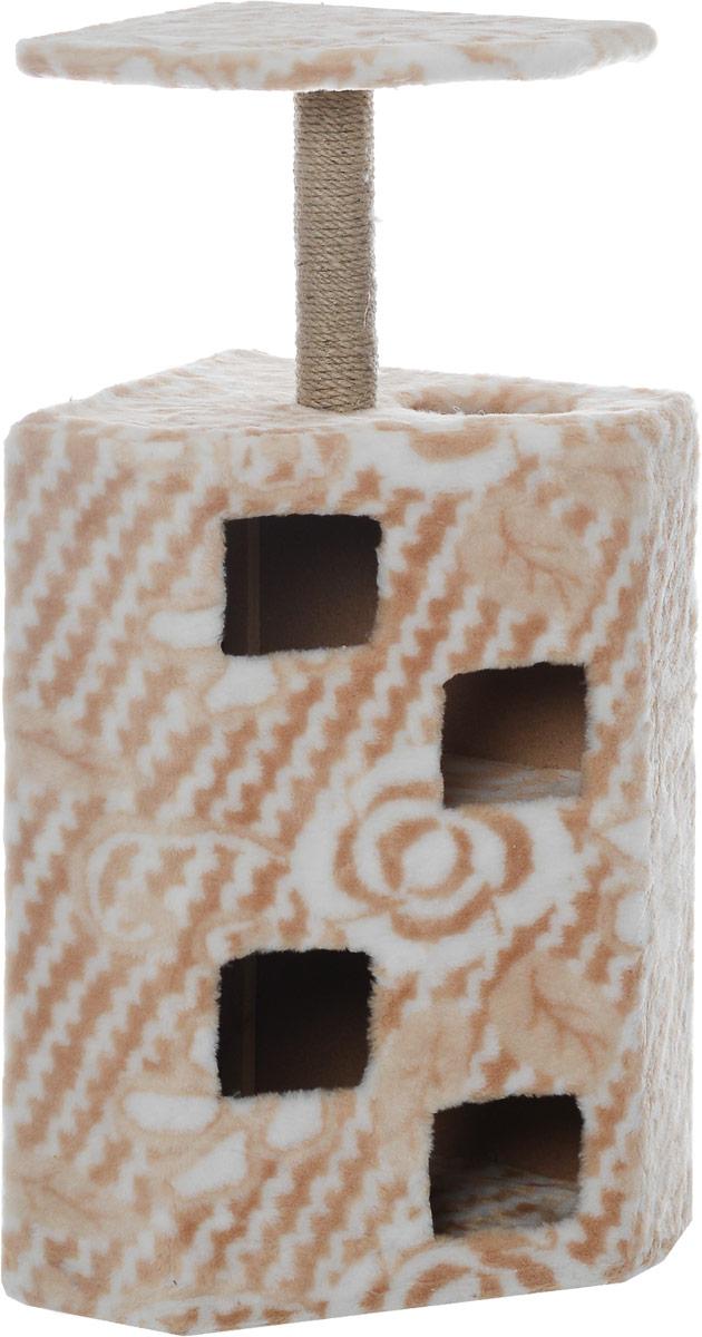 Домик-когтеточка Меридиан Муравейник, цвет: белый, бежевый, 58 х 44 х 125 см0120710Домик-когтеточка Меридиан Муравейник выполнен из высококачественных материалов. Изделие предназначено для кошек. Домик обтянут искусственным мехом, а столбики изготовлены из джута. Корпус выполнен из ДВП и ДСП. Ваш домашний питомец будет с удовольствием точить когти о специальные столбики, а отдохнуть он сможет в домике или на полке. Домик-когтеточка Меридиан Муравейник принесет пользу не только вашему питомцу, но и вам, так как он сохранит мебель от когтей и шерсти.Общий размер: 58 х 44 х 125 см. Размер полки: 52 х 39 см.
