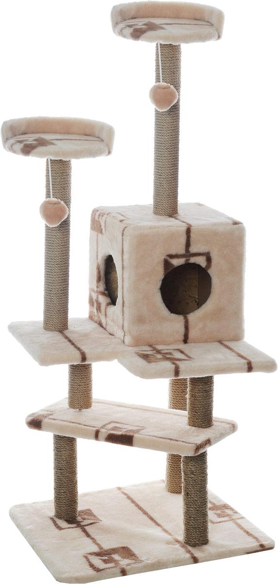 Игровой комплекс для кошек Меридиан Лестница, цвет: коричневый, бежевый, 56 х 50 х 142 см0120710Игровой комплекс для кошек Меридиан Лестница выполнен из высококачественного ДВП и ДСП и обтянут искусственным мехом. Изделие предназначено для кошек. Ваш домашний питомец будет с удовольствием точить когти о специальные столбики, изготовленные из джута. А отдохнуть он сможет либо на полках, либо в домике. Общий размер: 56 х 50 х 142 см.Размер верхних полок: 27 х 27 см.Размер домика: 31 х 31 х 32 см.
