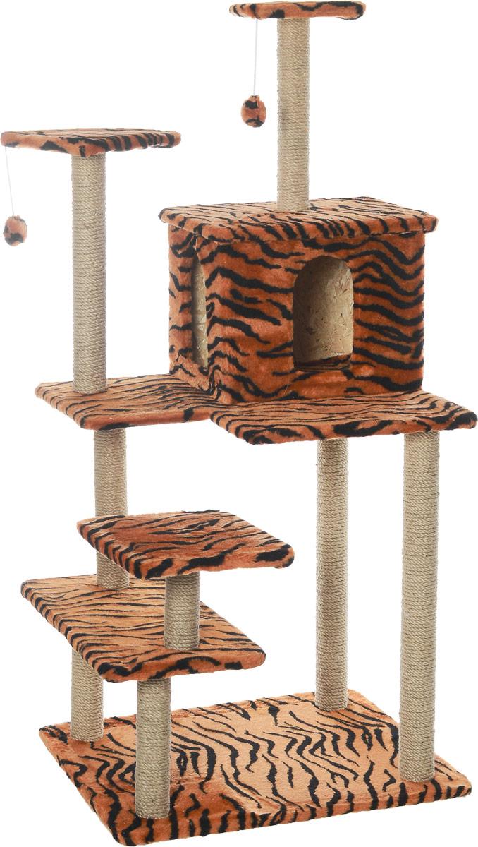 Игровой комплекс для кошек Меридиан Семейный, цвет: оранжевый, черный, бежевый, 70 х 65 х 150 см0120710Игровой комплекс для кошек Меридиан Семейный выполнен из высококачественного ДВП и ДСП и обтянут искусственным мехом. Изделие предназначено для кошек. Ваш домашний питомец будет с удовольствием точить когти о специальные столбики, изготовленные из джута. А отдохнуть он сможет либо на полках, либо в домике. Сверху имеются 2 подвесные игрушки, которые привлекут внимание кошки к когтеточке.Общий размер: 70 х 65 х 150 см.Размер полок: 31 х 31 см, 26 х 26 см (2 полки), 59 х 24 см.Размер домика: 41 х 33 х 35 см.
