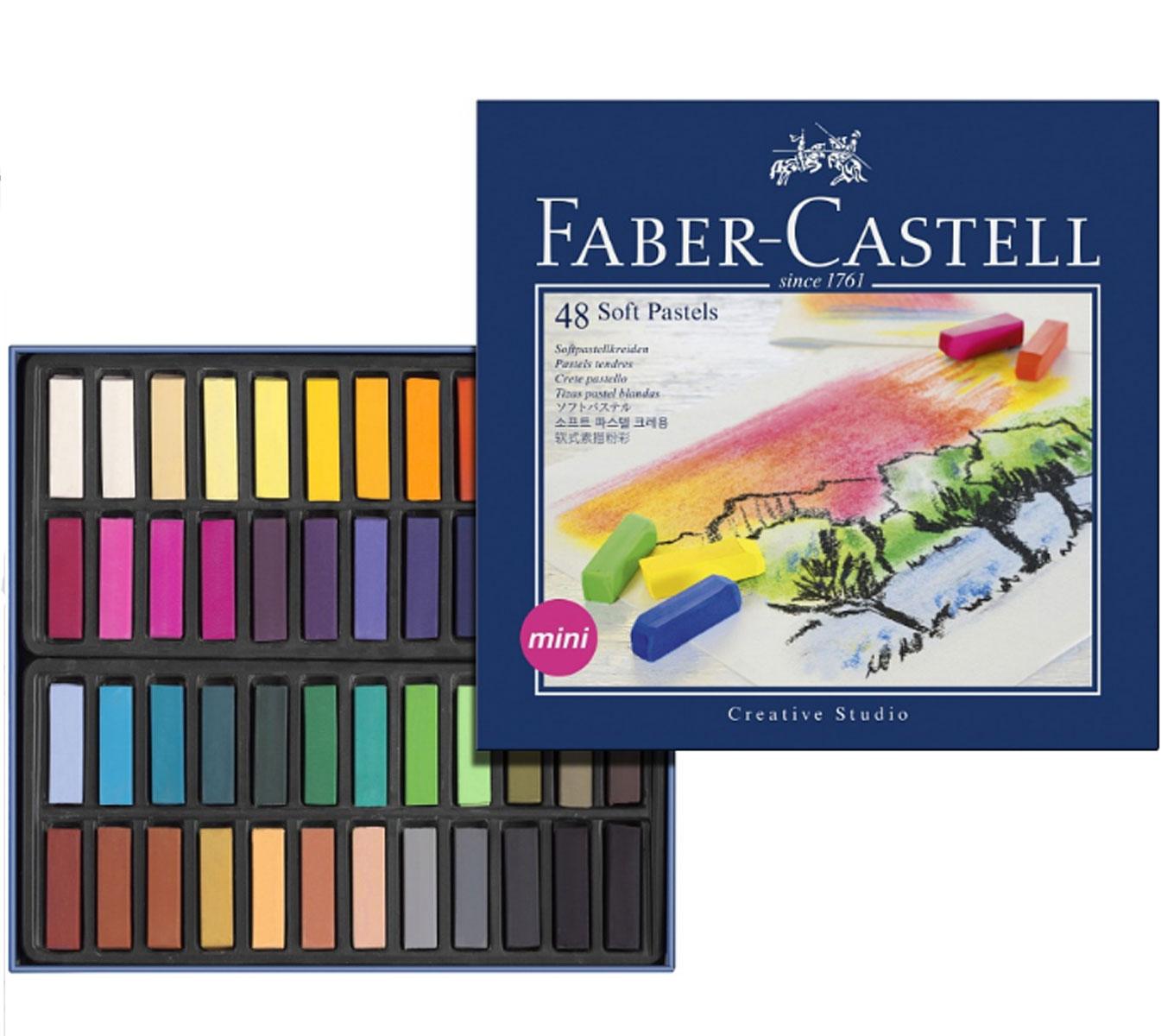 Мягкие мини-мелки Faber-Castell Studio Quality Soft Pastels, 48 шт2824Набор Faber-Castell Studio Quality Soft Pastels содержит мягкие мини-мелки квадратной формы 48 цветов - от ярких активных тонов до приглушенных оттенков. Мелки великолепного качества не крошатся при работе, обладают отличными кроющими свойствами, обеспечивают хорошее сцепление с поверхностью, яркость и долговечность изображения. Мягкими мелками Faber-Castell Studio Quality Soft Pastels можно рисовать в любой технике, сочетая их с цветными карандашами и красками.