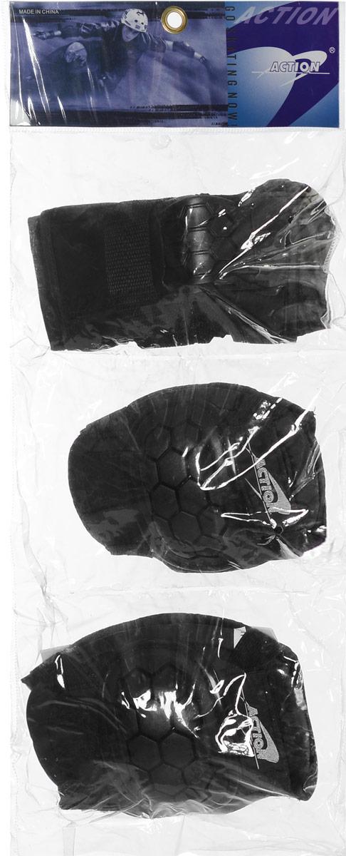 Комплект защиты  Action , для катания на роликах, цвет: черный. Размер M. PW-306 - Защита