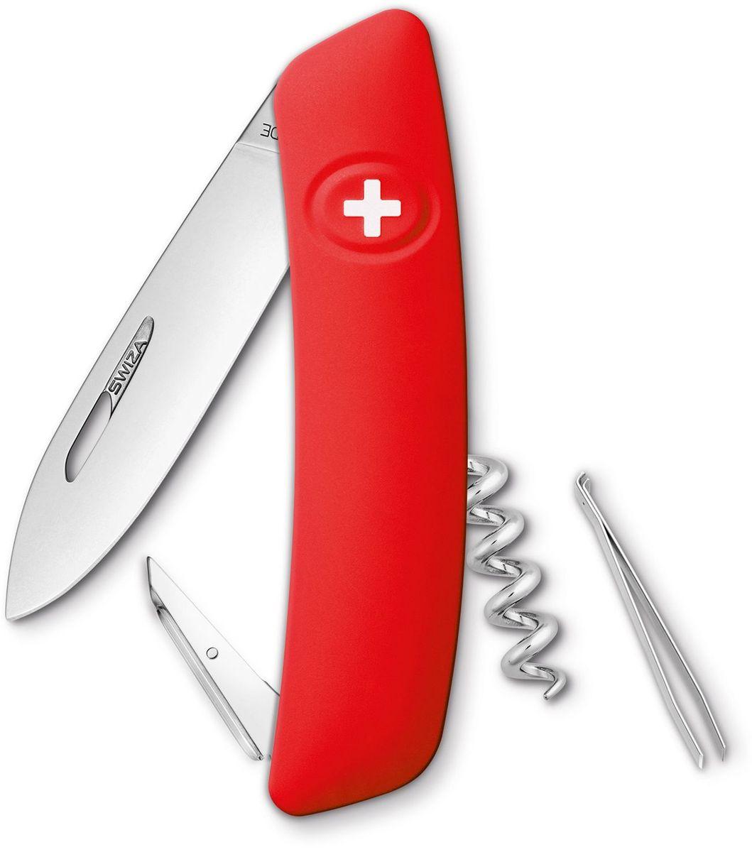 Нож швейцарский SWIZA D01, цвет: красный, длина клинка 7,5 см67742 Швейцарский нож (SWIZA D01) с его революционной формой и безопасной рукояткой, легко раскладываемой ручкой - самый удобный и простой в использовании швейцарский нож на все времена. Эргономично изогнутая форма ножа обеспечивает более легкий доступ к инструментам, а пазы позволяют легко их открывать, как левой, так и правой рукой. Пожизненная гаратния на ножи SWIZA обеспечивают долговременное использование1. нож перочинный ,2. штопор, 3. ример/дырокол4. шило, 5. безопасная блокировка лезвий,6. пинцет