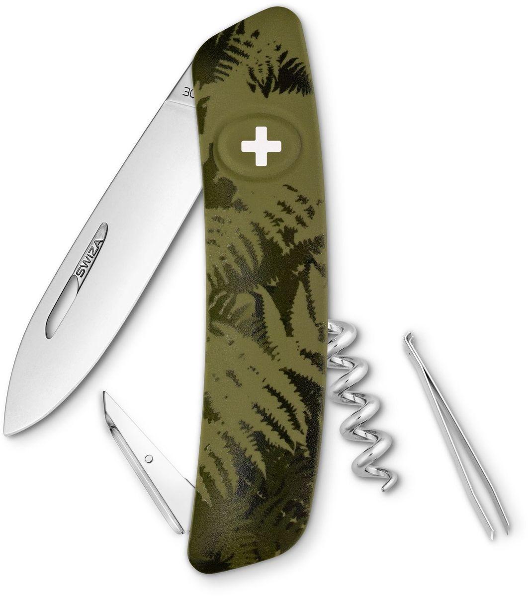 Нож швейцарский SWIZA C01, цвет: темно-зеленый, длина клинка 7,5 см1.3603.T Швейцарский нож (SWIZA С01) с его революционной формой и безопасной рукояткой, легко раскладываемой ручкой - самый удобный и простой в использовании швейцарский нож на все времена. Эргономично изогнутая форма ножа обеспечивает более легкий доступ к инструментам, а пазы позволяют легко их открывать, как левой, так и правой рукой. Пожизненная гаратния на ножи SWIZA обеспечивают долговременное использование1. нож перочинный ,2. штопор, 3. ример/дырокол4. шило, 5. безопасная блокировка лезвий,6. пинцет