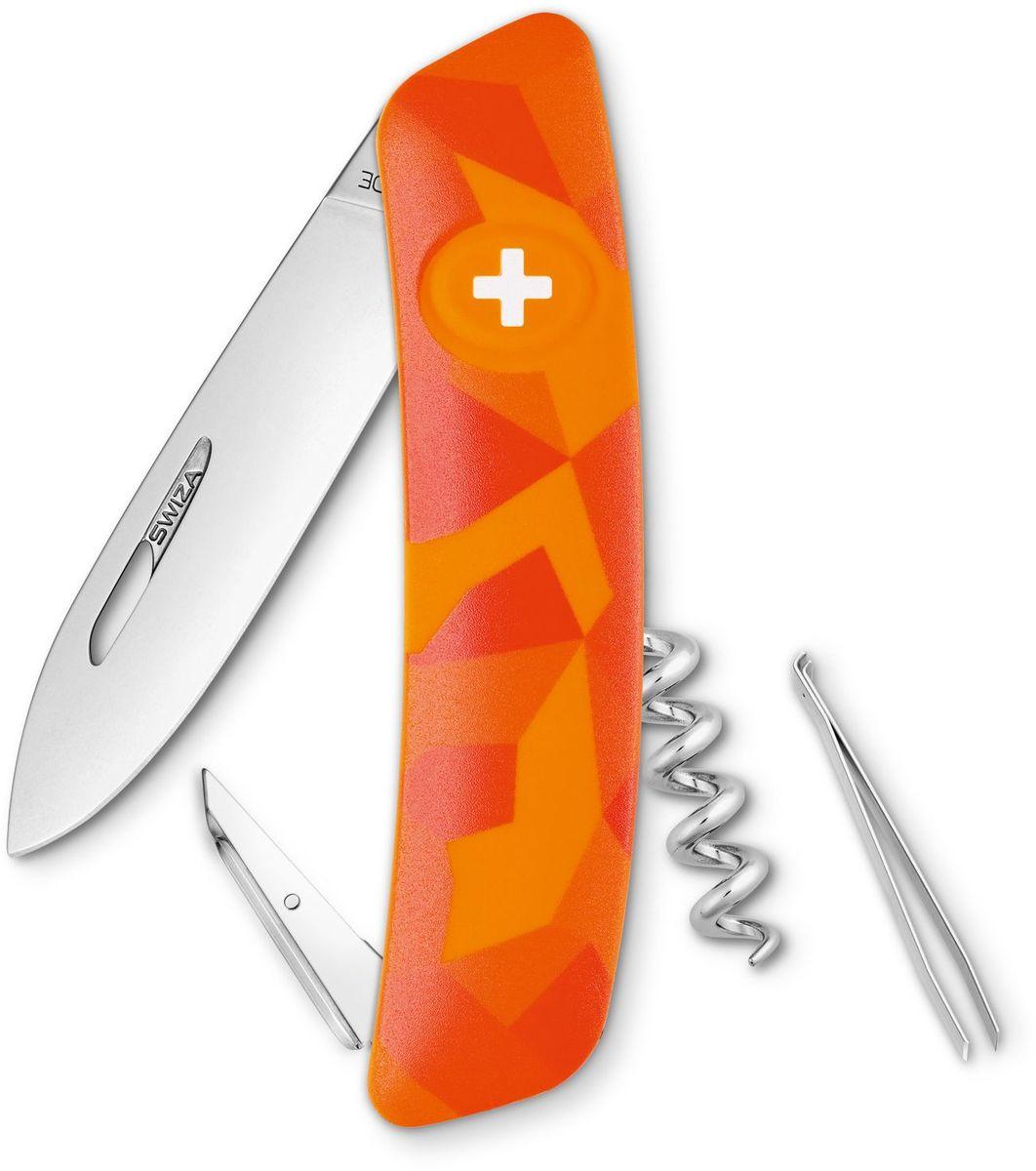 Нож швейцарский SWIZA C01, цвет: оранжевый, длина клинка 7,5 см1.3603.T Швейцарский нож (SWIZA С01) с его революционной формой и безопасной рукояткой, легко раскладываемой ручкой - самый удобный и простой в использовании швейцарский нож на все времена. Эргономично изогнутая форма ножа обеспечивает более легкий доступ к инструментам, а пазы позволяют легко их открывать, как левой, так и правой рукой. Пожизненная гаратния на ножи SWIZA обеспечивают долговременное использование1. нож перочинный ,2. штопор, 3. ример/дырокол4. шило, 5. безопасная блокировка лезвий,6. пинцет