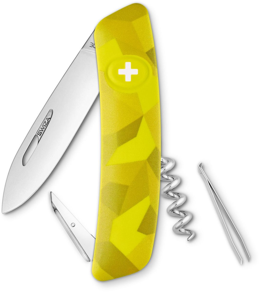Нож швейцарский SWIZA C01, цвет: желтый, длина клинка 7,5 см1301210 Швейцарский нож (SWIZA С01) с его революционной формой и безопасной рукояткой, легко раскладываемой ручкой - самый удобный и простой в использовании швейцарский нож на все времена. Эргономично изогнутая форма ножа обеспечивает более легкий доступ к инструментам, а пазы позволяют легко их открывать, как левой, так и правой рукой. Пожизненная гаратния на ножи SWIZA обеспечивают долговременное использование1. нож перочинный ,2. штопор, 3. ример/дырокол4. шило, 5. безопасная блокировка лезвий,6. пинцет