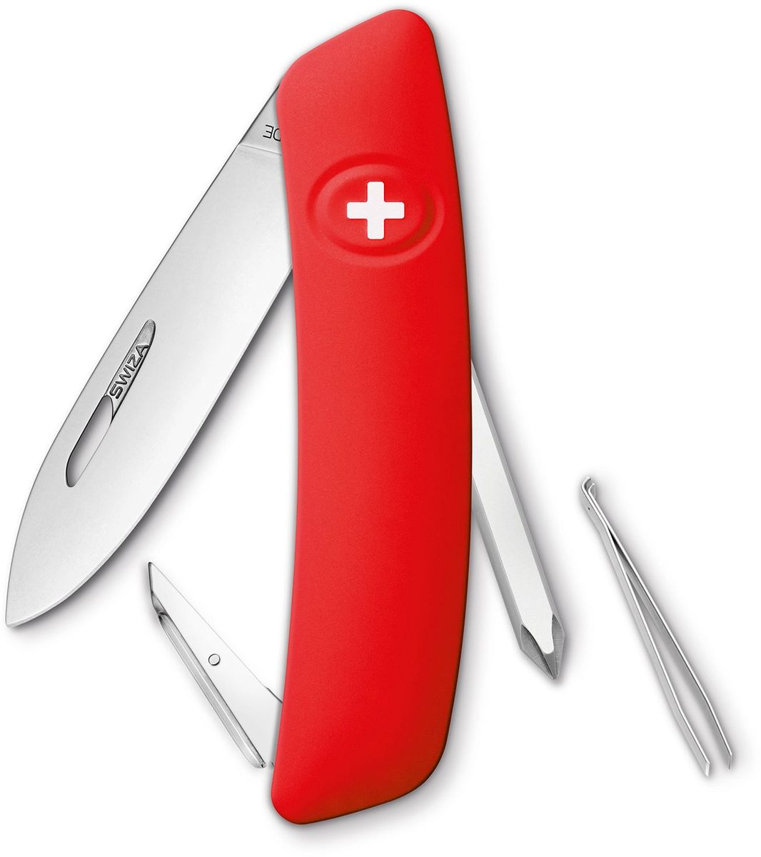 Нож швейцарский SWIZA D02, цвет: красный, длина клинка 7,5 смCS/20PBSZ Швейцарский нож (SWIZA D02) с его революционной формой и безопасной рукояткой, легко раскладываемой ручкой - самый удобный и простой в использовании швейцарский нож на все времена. Эргономично изогнутая форма ножа обеспечивает более легкий доступ к инструментам, а пазы позволяют легко их открывать, как левой, так и правой рукой. Пожизненная гаратния на ножи SWIZA обеспечивают долговременное использование1. нож перочинный ,2. отвертка Phillips , 3. ример/дырокол4. шило, 5. безопасная блокировка лезвий,6. пинцет