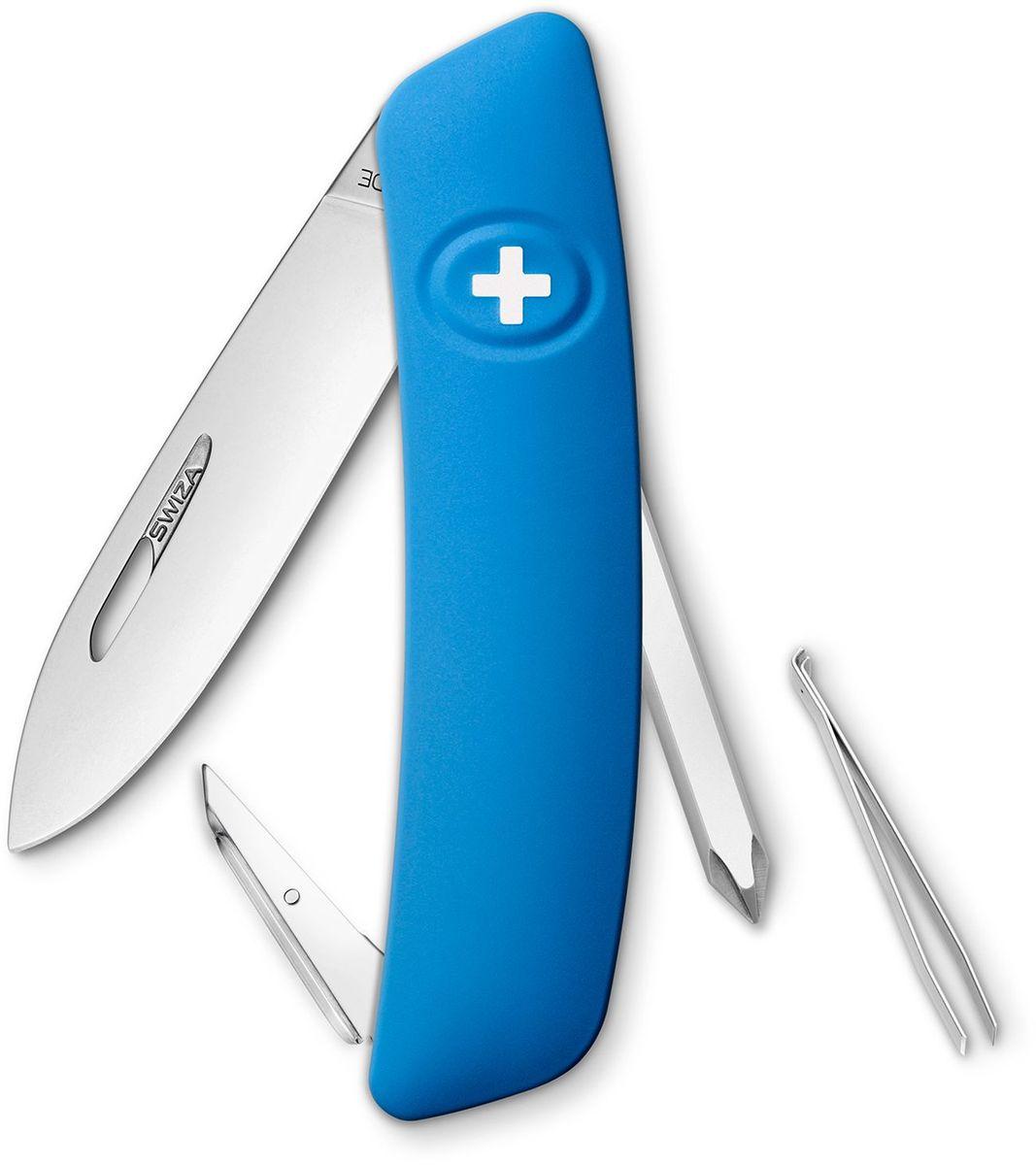 Нож швейцарский SWIZA D02, цвет: синий, длина клинка 7,5 см67742 Швейцарский нож (SWIZA D02) с его революционной формой и безопасной рукояткой, легко раскладываемой ручкой - самый удобный и простой в использовании швейцарский нож на все времена. Эргономично изогнутая форма ножа обеспечивает более легкий доступ к инструментам, а пазы позволяют легко их открывать, как левой, так и правой рукой. Пожизненная гаратния на ножи SWIZA обеспечивают долговременное использование1. нож перочинный ,2. отвертка Phillips , 3. ример/дырокол4. шило, 5. безопасная блокировка лезвий,6. пинцет