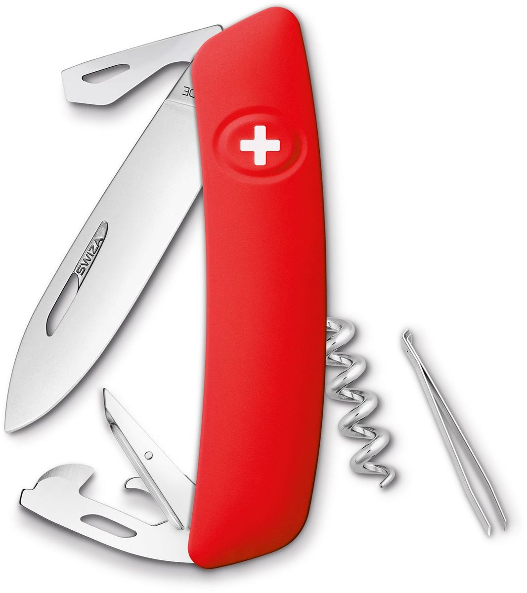 Нож швейцарский SWIZA D03, цвет: красный, длина клинка 7,5 см1301210Швейцарский нож (SWIZA D03) с его революционной формой и безопасной рукояткой, легко раскладываемой ручкой - самый удобный и простой в использовании швейцарский нож на все времена. Эргономично изогнутая форма ножа обеспечивает более легкий доступ к инструментам, а пазы позволяют легко их открывать, как левой, так и правой рукой.1. нож перочинный, 2.Штопор, 3. ример/дырокол 4. шило, 5. безопасная блокировка лезвий, 6. пинцет 7. консервный нож, 8 Wire Bender (для проволоки), 9 Отвертка №1, 10. Отвертка №3, 11. Открывалка для бутылок